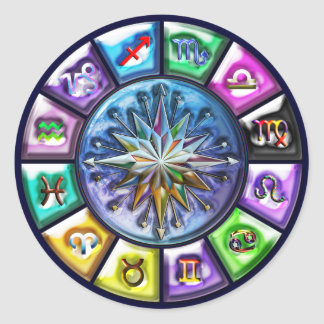 12 Signs of the Zodiac Round Stickers