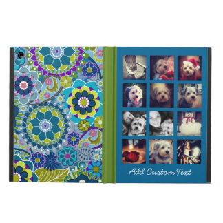 12 square photo collage colorful floral pattern cover for iPad air