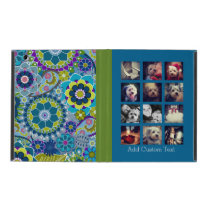 12 square photo collage colorful floral pattern iPad cover