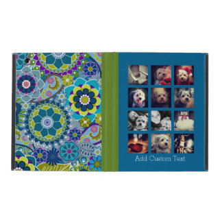 12 square photo collage colorful floral pattern iPad folio case