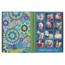 """12 square photo collage colorful floral pattern iPad pro 12.9"""" case"""