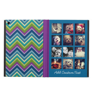 12 square photo collage peacock chevron pattern cover for iPad air