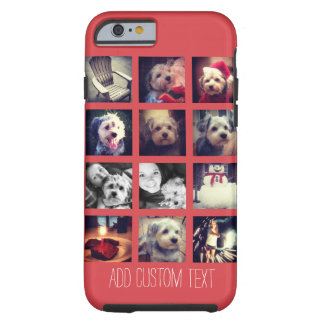 12 square photo collage with cayenne background tough iPhone 6 case