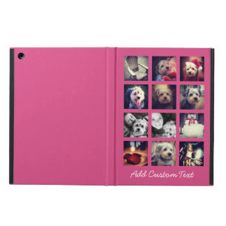 12 square photo collage with hot pink background case for iPad air