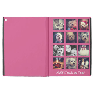 12 square photo collage with hot pink background iPad pro case