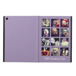 12 square photo collage with orchid background iPad air cases