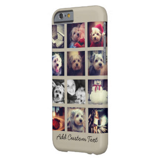 12 square photo collage with taupe background barely there iPhone 6 case