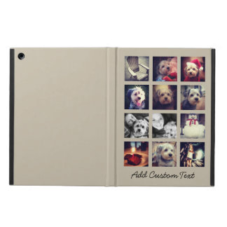 12 square photo collage with taupe background cover for iPad air