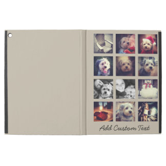 "12 square photo collage with taupe background iPad pro 12.9"" case"