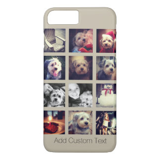 12 square photo collage with taupe background iPhone 8 plus/7 plus case