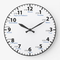 12 Step 12 Steps Recovery Sobriety Sober Clean Large Clock