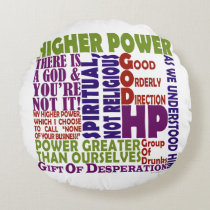 12 Step Higher Power Round Pillow