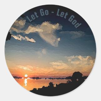 12-Step Sunset Over Lake Balaton - Personalized Classic Round Sticker