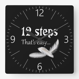 12 steps square wall clock