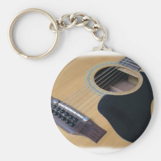 12 String Acoustic Guitar Basic Round Button Keychain