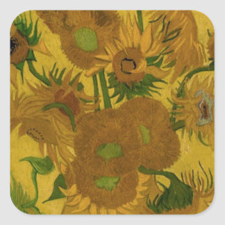 12 Sunflowers Square Sticker