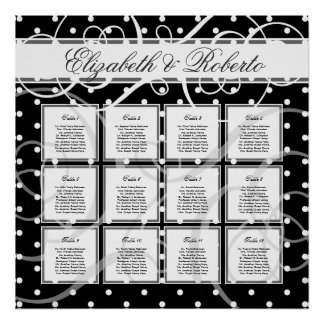 12 Table 80 to 120 guest Wedding Seating Chart Poster