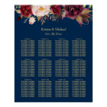 12 Tables Burgundy Floral Wedding Seating Chart