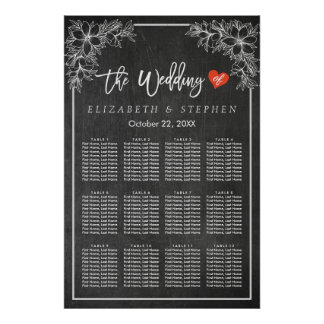 12 Tables Seating Chart Chalkboard Floral Frame