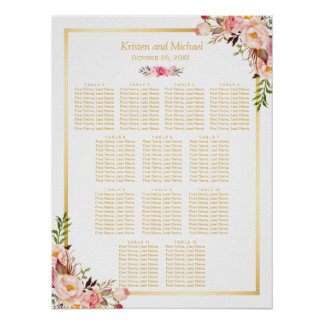 12 Tables Wedding Seating Chart Classy Chic Floral