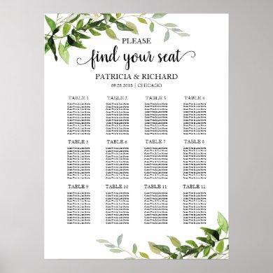 12 Tables Wedding Seating Plan Elegant Greenery Poster