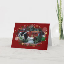 12 toy tractors at christmas holiday card