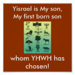 12-tribes-silouette, Yisrael is My son, My firs... Print