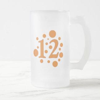 12-Twelve Frosted Glass Beer Mug
