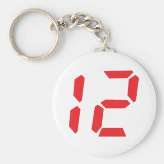 12 twelve  red alarm clock digital number basic round button keychain