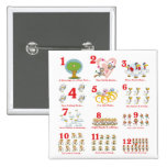 12 twelves days of christmas complete 2 inch square button