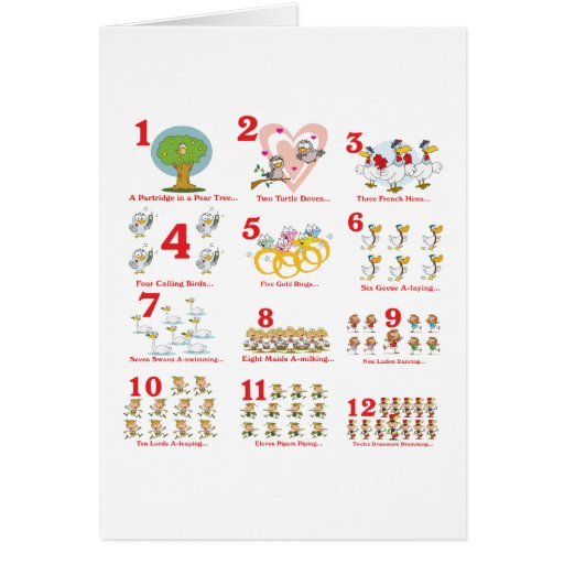 12 twelves days of christmas complete greeting cards