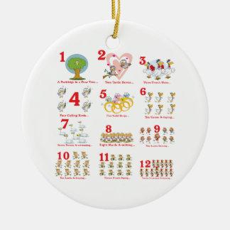 12 twelves days of christmas complete ceramic ornament