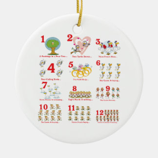12 twelves days of christmas complete ceramic ornament