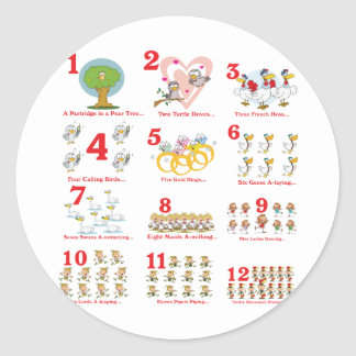 12 twelves days of christmas complete classic round sticker