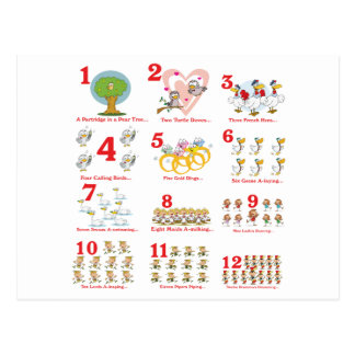 12 twelves days of christmas complete postcard