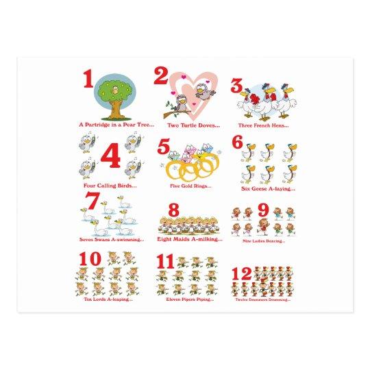 12 twelves days of christmas complete postcard