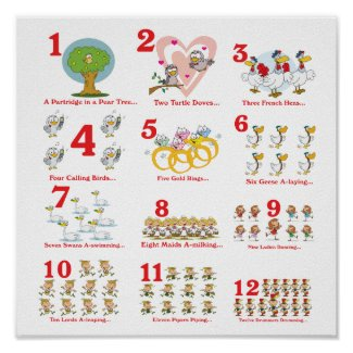 12 twelves days of christmas complete print
