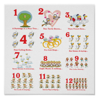 12 twelves days of christmas complete poster