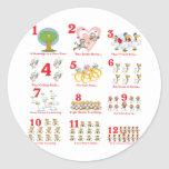 12 twelves days of christmas complete round stickers