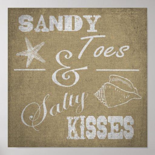 """12"""" X12"""" poster - dedos del pie de Sandy y besos s"""