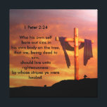 """12&quot; x 12&quot;, .75&quot;, Single Canvas Print<br><div class=""""desc"""">1 Peter 2:24 Who his own self bare our sins in his own body on the tree,  that we,  being dead to sins,  should live unto righteousness: by whose stripes ye were healed.</div>"""