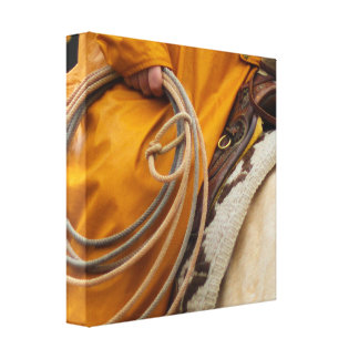12 x 12 Cowboy Rope & Saddle Stretched Canvas Prin
