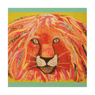 """12"""" x 12"""" Wood Wall Art with Bold Lion"""