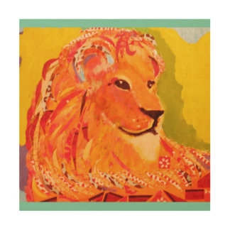 """12"""" x 12"""" Wood Wall Art with Bright Lion"""