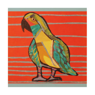 "12"" x 12"" Wood Wall Art with Bright Parrot"