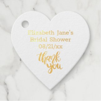12 x REAL FOIL Modern Thank You BRIDAL SHOWER Favor Tags