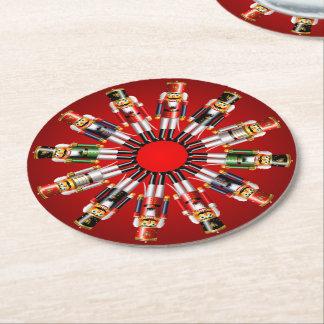 12 Xmas Nutcracker Toy Soldiers Round Paper Coaster