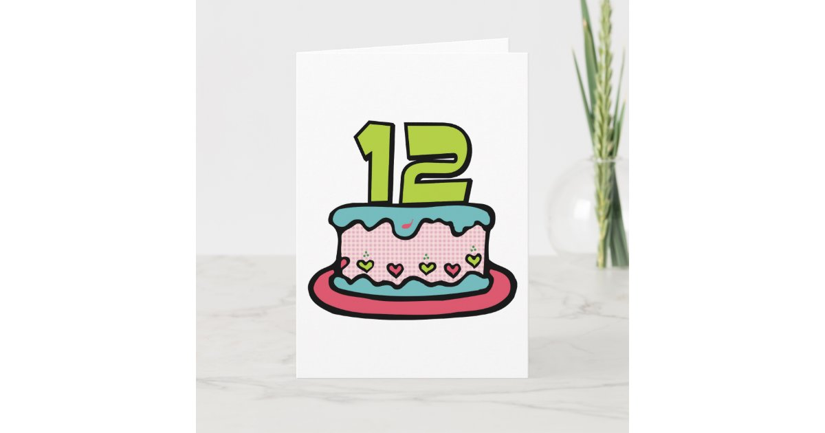 Groovy 12 Year Old Birthday Cake Card Zazzle Com Funny Birthday Cards Online Overcheapnameinfo