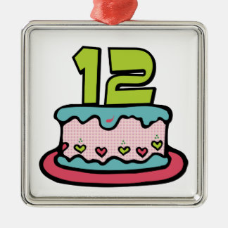 12 Year Old Birthday Cake Metal Ornament
