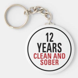 12 Years Clean and Sober Keychains